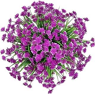 Zonlong Artificial Flowers, 4 Bundles Fuchsia Fake Flowers Plant, UV Resistant No Fade Faux Flower, Hanging Plant, For Garden, Wedding, Farmhouse Indoor or Outdoor etc Decor