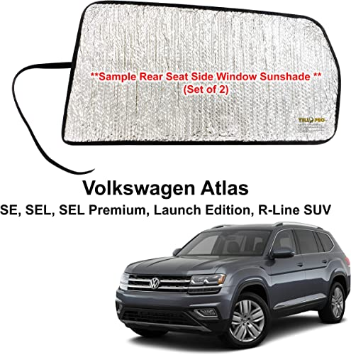 new arrival Side Window Rear Seat popular Sunshade Custom Fit for 2018 2019 2020 2021 Volkswagen Atlas, SE, SEL, SEL Premium, Launch Edition, R-Line SUV, UV wholesale Reflector Sun Protection Accessories (Set of 2) -Made in USA online