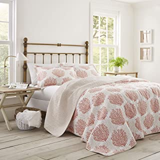 Laura Ashley Coral Coast Quilt Set, Full/Queen