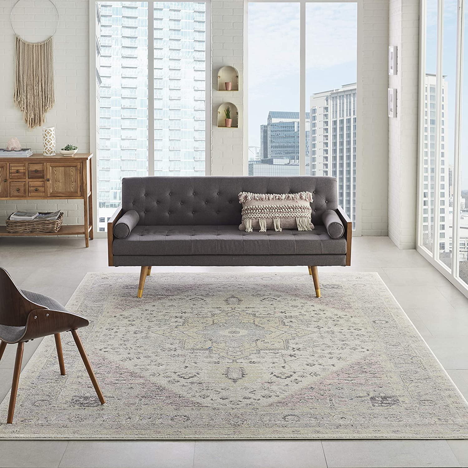 Nourison TRA06 Nippon regular San Jose Mall agency Tranquil Persian Vintage Ivory 8' Area Pink X Rug