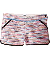 Karl Lagerfeld Kids - Tweed Shorts w/ Fringe & Contrast Black Trim (Big Kids)