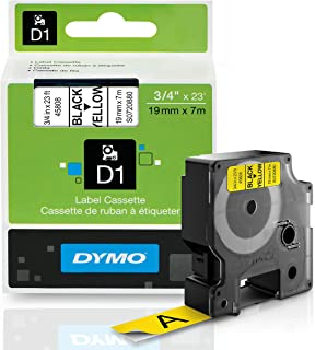 DYMO Standard D1 Labeling Tape for LabelManager Label Makers, Black print on Yellow tape, 3/4'' W x 23' L, 1 cartridge (45808)