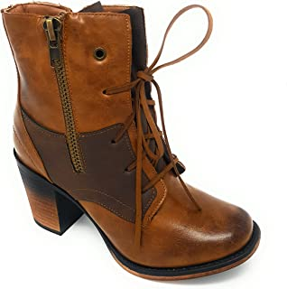 Pierre Dumas Womens Vintage Distressed Lace-up Stacked Heel Ankle Boot Ravenna 05