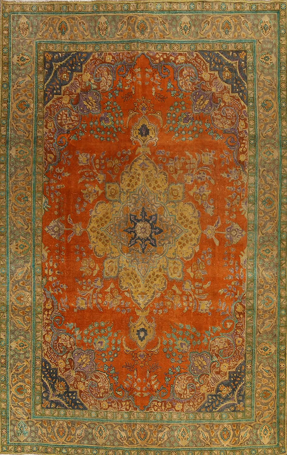 Vintage Floral Tebriz Oriental shopping Area Carpet Hand-Knotted Wool Rug Today's only