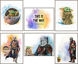 Baby Yoda The Child Mandalorian Prints - Set of 6 Posters - UNFRAMED - 8 x 10 inches - Wall Art Decor Photos - Star Wars T...
