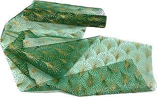 Marzoon - Camino de mesa de organza 28 x 300 cm transparente con estampado dorado brillante (patrón verde 1)