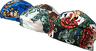 Danbanna Deluxe Lot Set of 3 Tattoo Pinup Girls Biker Durag Head Wrap Cap Hat Sweatband