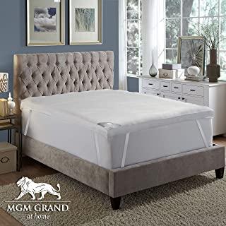 MGM GRAND Hotel 4 inch Platinum Collection Hotel Pillow top Down & Feather Bed/Mattress Topper Filled Goose Down Alternative Fiber-100% Cotton Feather Proof, Baffle Box, Queen
