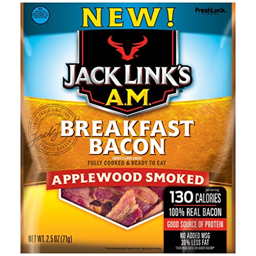 Jack Links A.M. Breakfast Bacon, Applewood Smoked, 2.5 oz. Bag – Flavorful Ready to Eat Meat Snack with 11g of Protein, Made with 100% Real Bacon – No Added MSG or Nitrates/Nitrites
