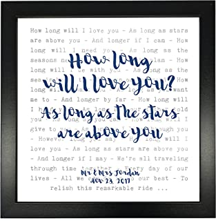 Ellie Goulding 'How Long Will I Love You' Song Lyrics Print Framed & Personalised