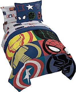Jay Franco Marvel Avengers Emblems 5 Piece Twin Bed Set - Includes Comforter & Sheet Set Bedding - Super Soft Fade Resista...
