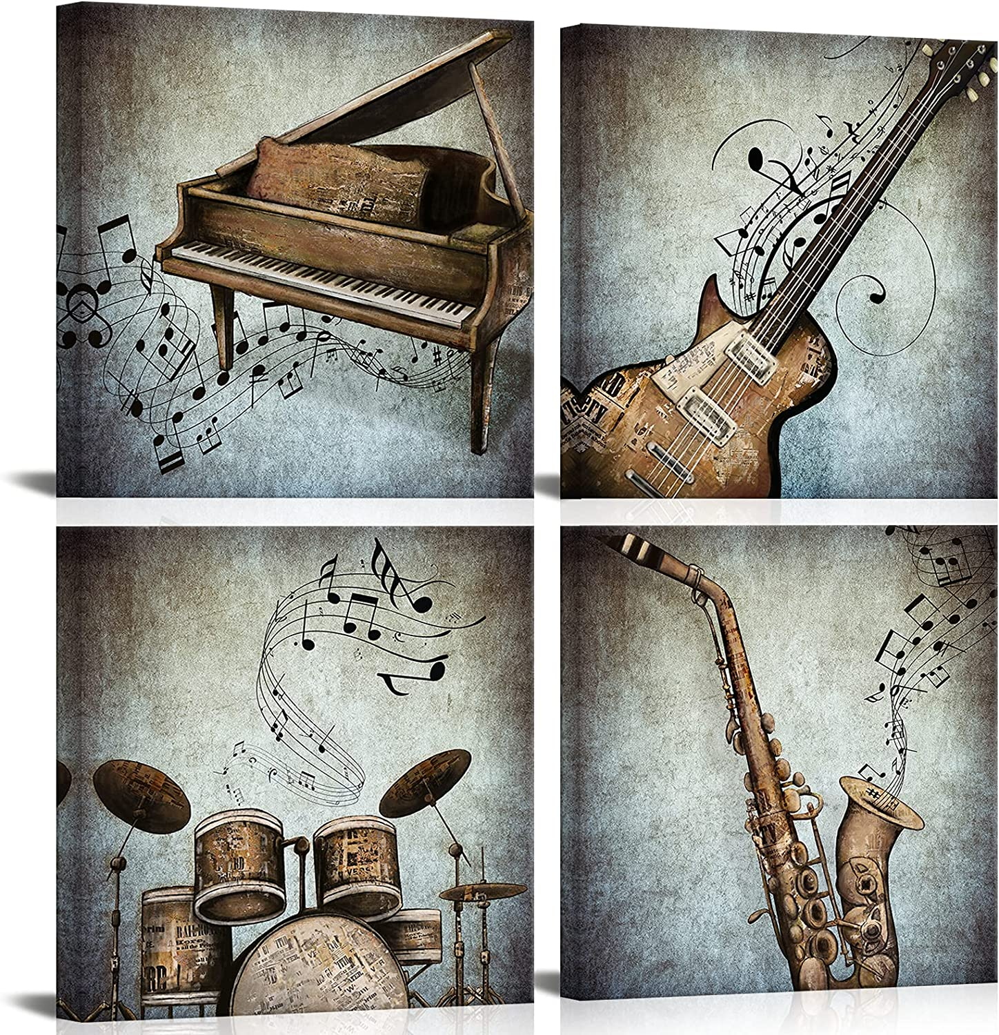ArtKissMore 4 Pcs Music Wall Art Vintage Piano Guitar Picture Drum Set Saxophone Canvas Painting Artwork for Modern Home Bedroom Living Room Decor Framed Ready to Hang 12x12inchx4 Panel