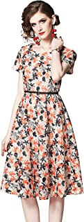 LAI MENG FIVE CATS Women's Summer Round Neck Floral Print Dress Casual A-line and Flare Dress