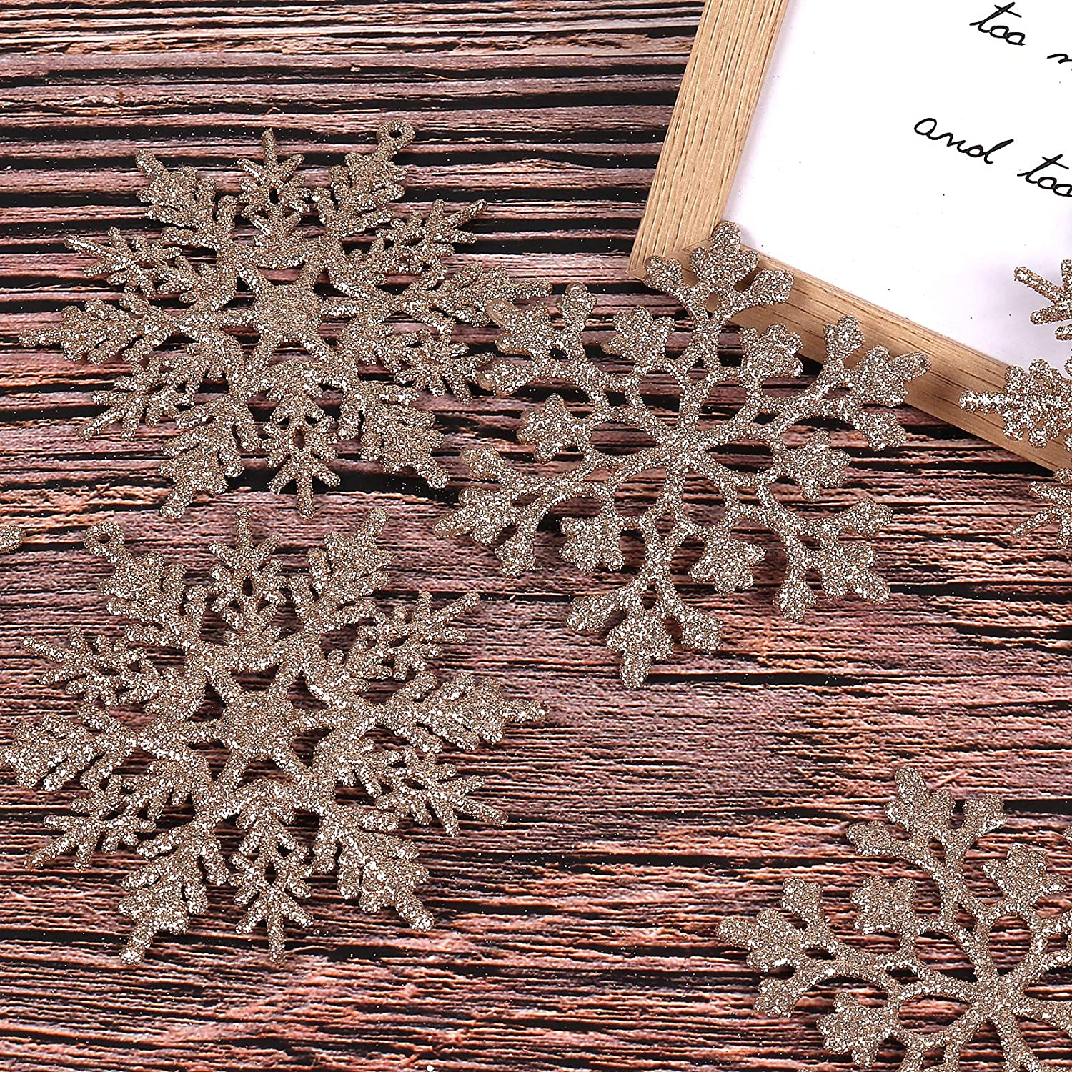 RECUTMS 40Pieces Blue Glitter Snowflake Winter Snowflake Ornaments Christmas Hanging Decorations for Christmas Tree Wedding Embellishing Party Decorations,4 Inches,2 Pattern Blue