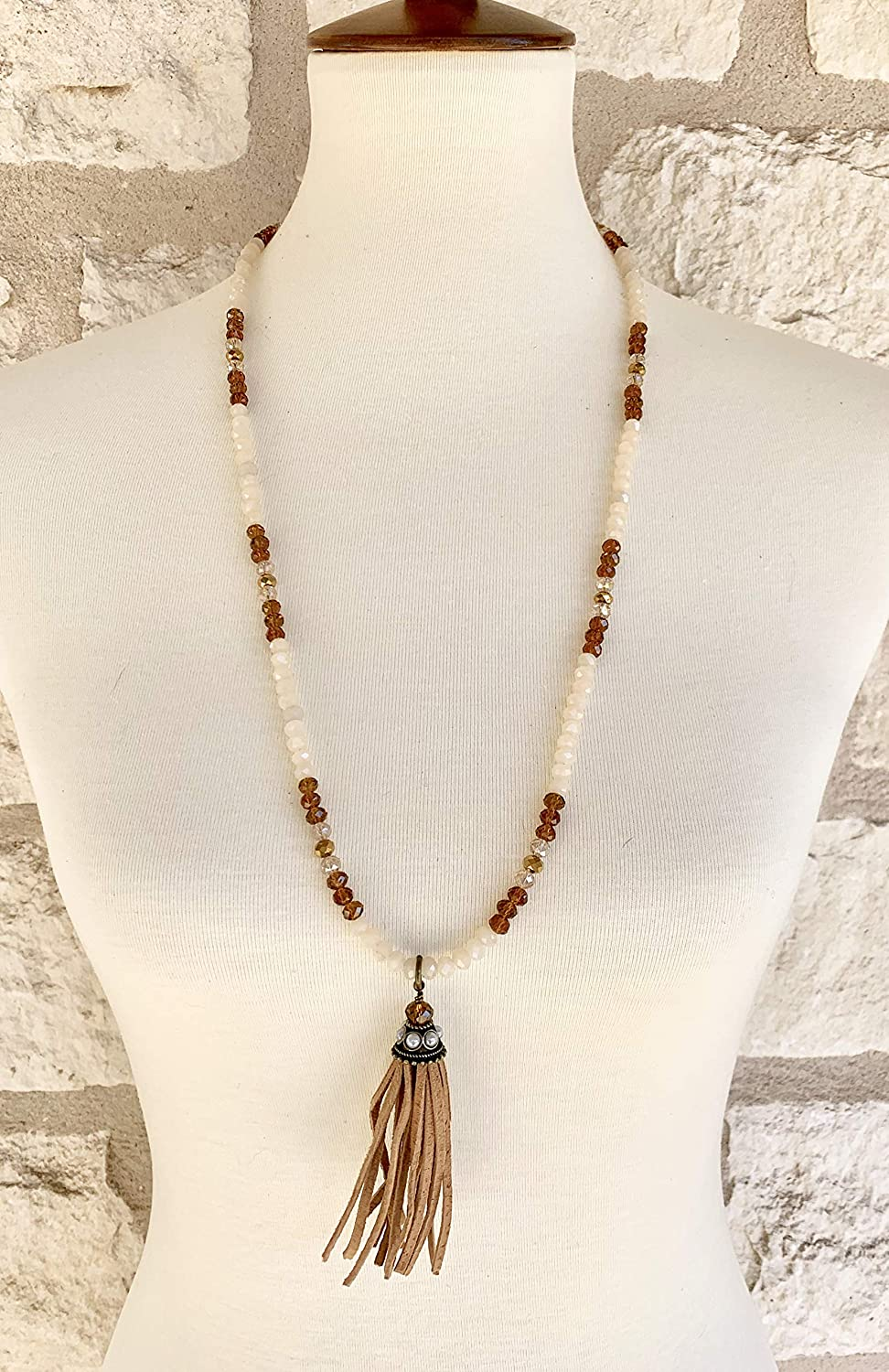 Earthtone Denver Complete Free Shipping Mall Crystal and Leather Tassel Beaded Necklace