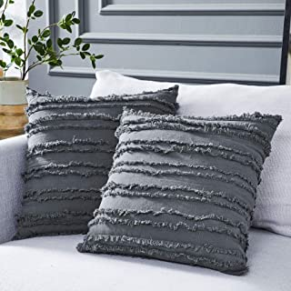 Best Longhui bedding Grey Throw Pillow Cover for Couch Sofa Bed, Cotton Linen Decorative Pillows Cushion Covers, Gray Color 18 x 18 inches, Set of 2 Review