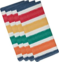 E by design N4S786BL44 Fun in the Sun, Stripe Print Napkin, 19 x 19, Blue