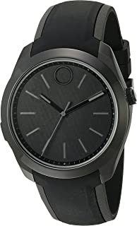 Movado Stainless Steel Swiss-Quartz Watch with Silicone Strap, Black, 23 (Model: 3660002)