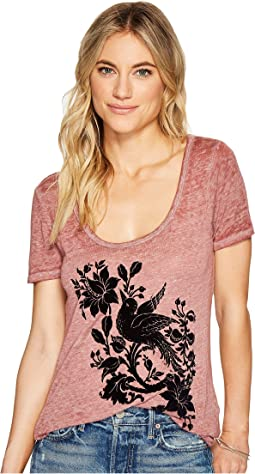 Lucky Brand Flocked Bird Tee