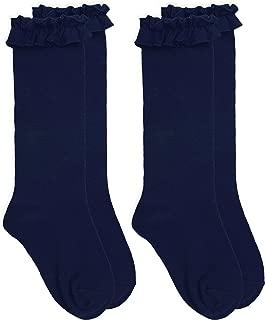 Jefferies Socks Girls Ruffle Cotton Knee High Socks 2 Pair Pack