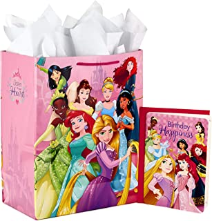"""Best Hallmark 13"""" Large Disney Princess Gift Bag with Birthday Card and Tissue Paper (Ariel, Belle, Rapunzel, Cinderella and More) Review"""