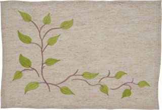 "SARO LIFESTYLE Vineland Collection Embroidered Vine Placemats (Set of 4), 14""x20"", Natural"
