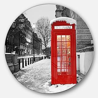 Designart London Telephone Booth Cityscape Large Metal Wall Art Disc of 23 inch, 23'' H x 23'' W x 1'' D 1P, Red/White