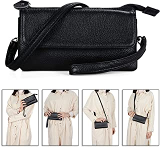 Befen Leather Wristlet Clutch Smartphone Crossbody Wallet with Card Slots/Shoulder Strap/Wrist Strap (Black Small)