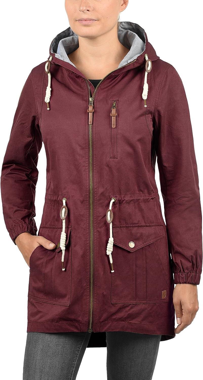 DESIRES Inata Damen Übergangsjacke Parka Mantel warme Jacke gefüttert mit Kapuze Wine Red (0985)