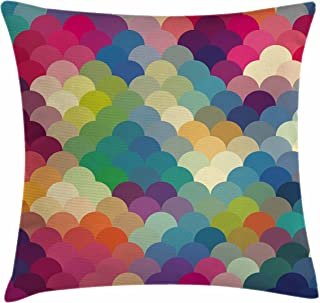 Ambesonne Abstract Throw Pillow Cushion Cover, Colorful Retro Style Scales Inspired Wave Pattern Overlapping Circles Dots Tile, Decorative Square Accent Pillow Case, 16
