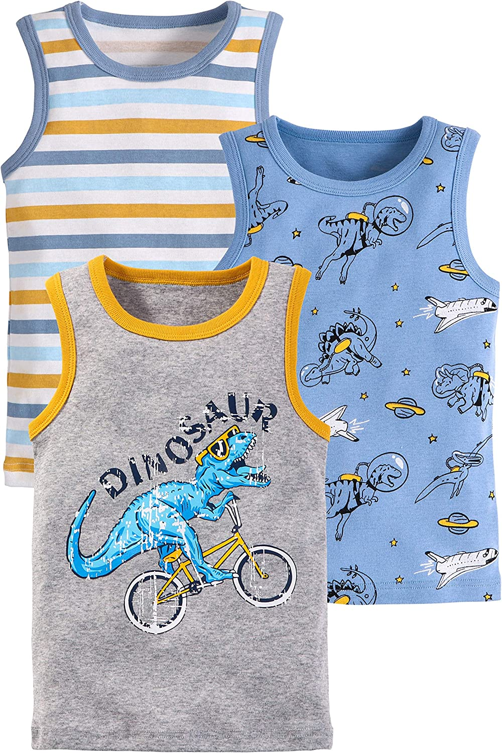 Coralup Baby Little Boys Tank Top Shirts 3 Pack Tanks Set