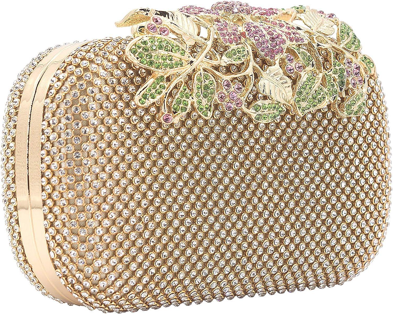 Dexmay Luxury Flower Women Clutch Purse Rhinestone Crystal Evening Bag for Wedding Party