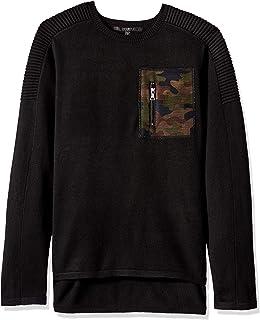 Guess Men's Long Sleeve Printed Mesh Pocket Sweater