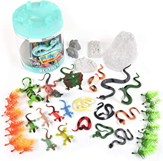 Sunny Days Entertainment Reptile Figure Play Bucket – 43 Assorted Lizards and Educational Accessories Toy Play Set For Kid...