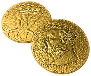 Aizics Mint Nobel Peace Prize Replica Medallion Coin. 24kt Gold Plated Authentic Look & Feel. Nobel Challenge Coin