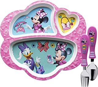 Zak Designs Disney Kids Dinnerware Set Includes Melamine 3-Section Divided Plate and Utensil Tableware, Made of Durable Material and Perfect for Kids (Minnie Mouse & Daisy, 3 Piece Set, BPA-Free)