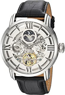Invicta Men's 'Objet d'Art' Automatic Stainless Steel and Leather Casual Watch, Color:Black (Model: 22650)