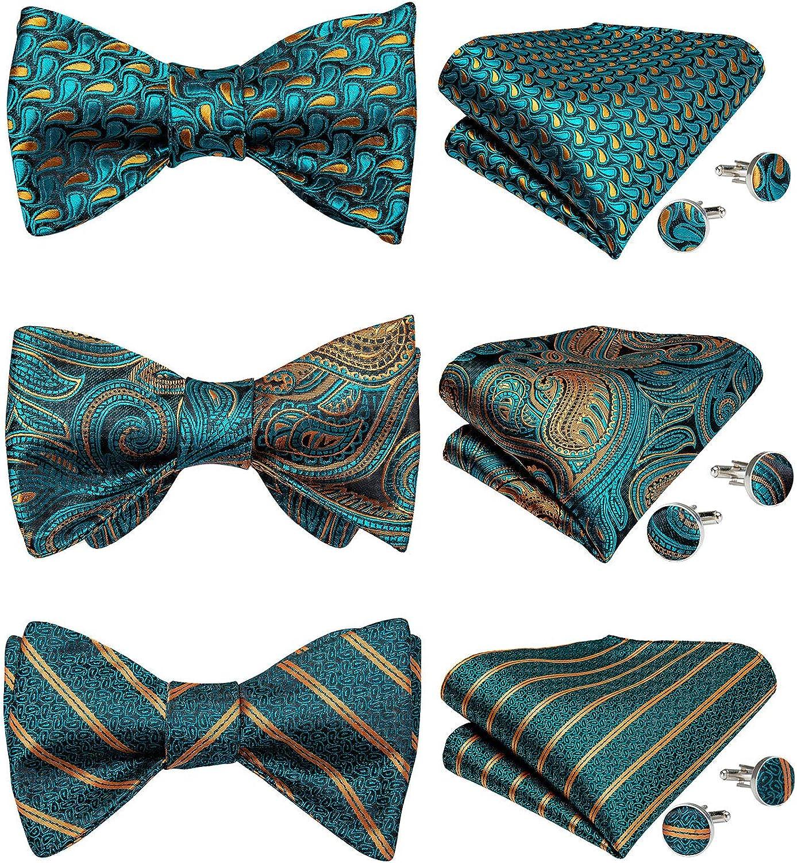 DiBanGu 3 Packs Self Tied Bowties, Silk Woven Bow Tie for Men/Boys Pocket Square Cufflinks Set