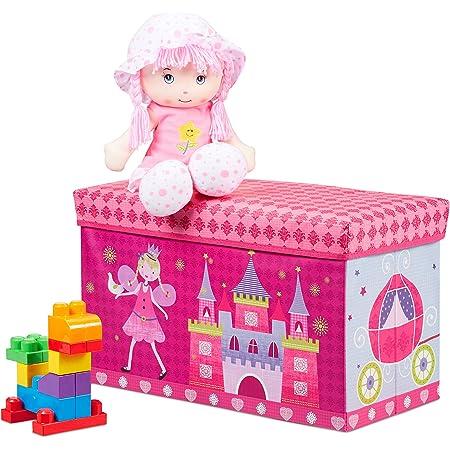 Relaxdays Tabouret Coffre à jouets boîte à jouets couvercle pouf enfant pliable princesse rangement fille garçon 66 litres, rose