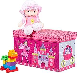Relaxdays Tabouret Coffre à jouets boîte à jouets couvercle pouf enfant pliable princesse rangement fille garçon 66 litre...