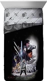 Star Wars Ep 8 Epic Poster Black/Gray Reversible Twin Comforter with Rey, Finn, Poe, Kylo Ren, Luke Skywalker, Leia, BB-8, C3-PO, R2-D2 & Chewbacca