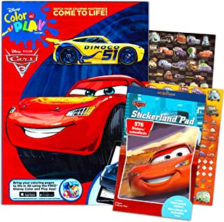 Disney Cars 3 Coloring Book and Stickers Super Set Bundle ~Disney Cars Coloring Book with Disney Cars Stickers & Specialty Jumbo Reward Stickers