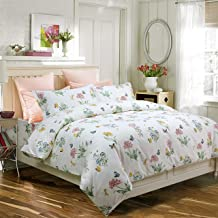 FADFAY Butterfly Meadow Duvet Cover Set 3-Piece Hypoallergenic 100% Cotton Stain Drill Farmhouse Bedding Floral Bedding with Hidden Zipper Closure 3 Pieces, 1duvet Cover & 2pillowcases, Twin XL Size
