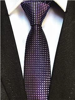 Men's Tartan Check Plaids Gingham Stripe Pattern Ties Formal Suit Skinny Necktie