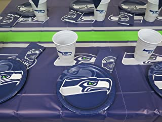 Seattle Seahawks 49 pieces Party set, Tablecloth, 16 plate, 16 napkins and large plastic 16 cups.