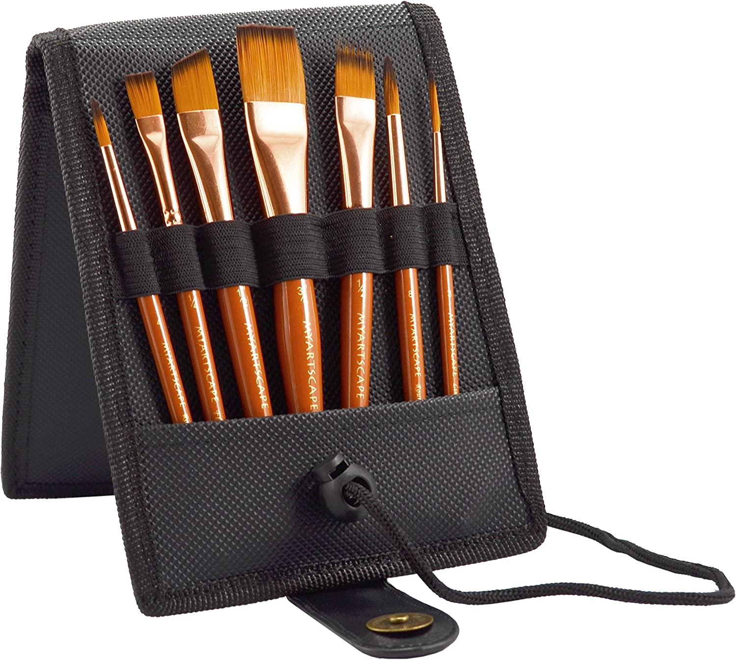OFFer Travel Paint Brush Set 7 Super-cheap Ultra Short-Handle H Brushes Case with