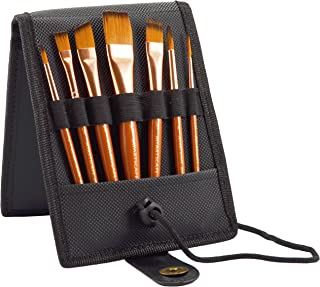 Paint Brush Set - 7 Travel Brushes for Acrylic, Oil, Watercolour, Gouache and Plein Air Painting - Ultra Short Handle - Professional Artist Carry Case (Black) - 1 Year Warranty