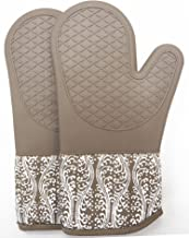 RED LMLDETA Professional Microwave Silicone Oven Mitts for one Pair, Kitchen Lines Set for Heat Resistant with 500 Degrees...
