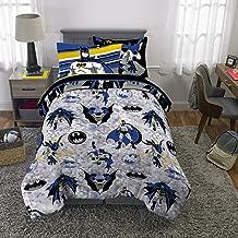 Franco Kids Bedding Super Soft Comforter and Sheet Set with Bonus Sham, 5 Piece Twin Size, Batman