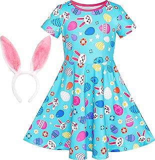 Sunny Fashion Vestito Bambina Fenicotteri Loto Stampare Onda Vita Cravatta a Farfalla 6-12 Anni